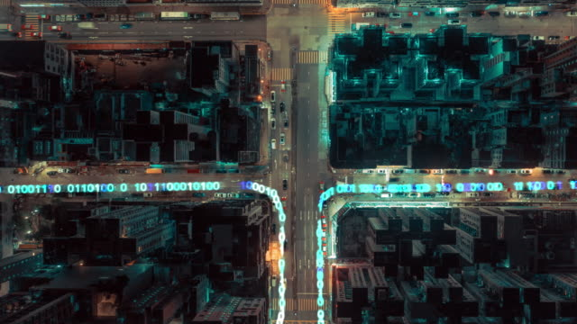 4k resolution Data Network connection Technology.Drone point of view hyper lapse of Hong kong city and communication network. Smart City. Internet of Things and big data concept