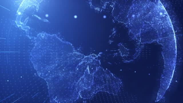 4k 解析度塵埃粒子全球商業科學或技術的背景, 未來地球世界 - 亞太地區 個影片檔及 b 捲影像