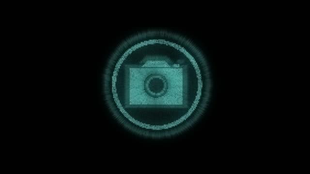 4k resolution futuristic design Camera icon on black alpha layer,Internet of things concept