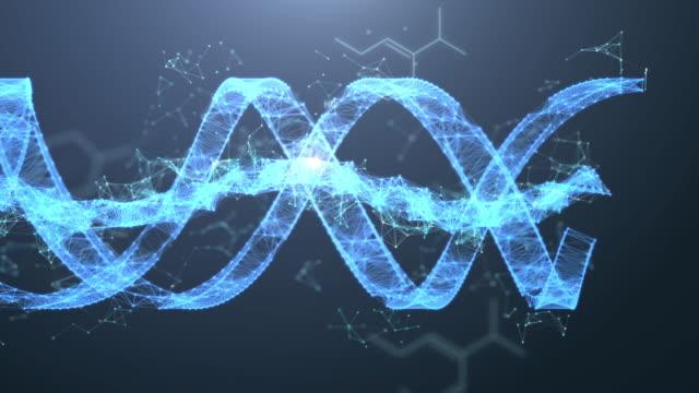 vídeos de stock, filmes e b-roll de resolução 4k movimento futurista do adn spin digital, fundo abstrato digital para a ciência e a tecnologia - biotecnologia