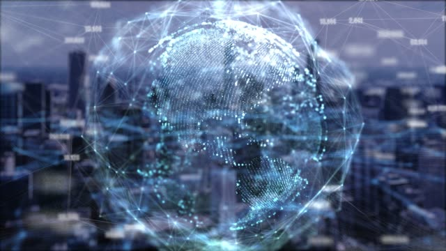 4k resolution Global network technology and connection data double exposure with Chicago