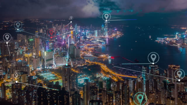 4k resolution Hong Kong Aerial view with data network connection technology concept.Smart city concept,Communication Network,Internet of Things concept