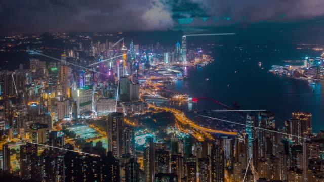 データネットワーク接続技術の概念を持つ4k解像度香港航空写真。スマートシティコンセプト、コミュニケーションネットワーク、モノのインターネットコンセプト - ネットワーク点の映像素材/bロール