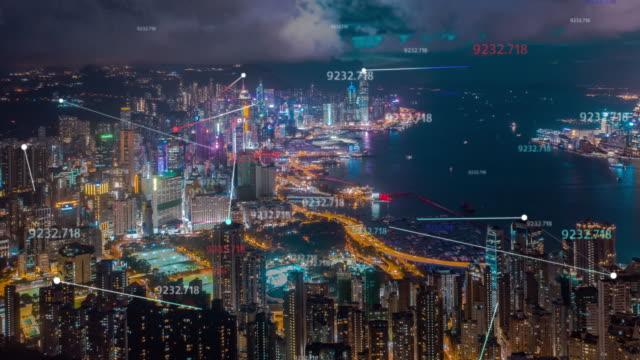 データネットワーク接続技術の概念を持つ4k解像度香港航空写真。スマートシティコンセプト、コミュニケーションネットワーク、モノのインターネットコンセプト - 鎖の輪点の映像素材/bロール