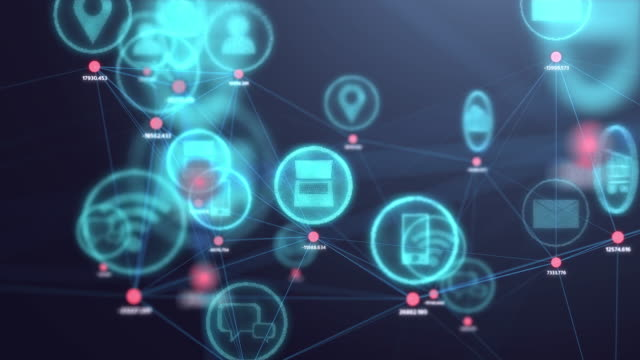 4k resolution internet of things concept,social icon connecting to dot in 3d space.information communication network.technology concept - icons стоковые видео и кадры b-roll