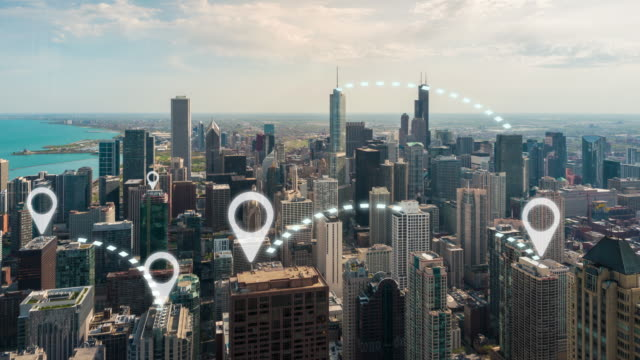 4k resolution network connection concept with Chicago cityscape 4k resolution network connection concept with Chicago cityscape global positioning system stock videos & royalty-free footage