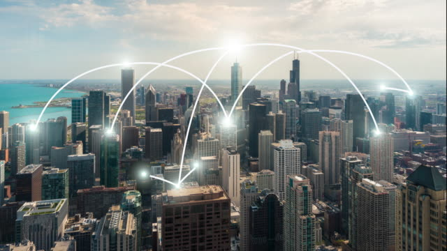 4k resolution network connection concept with Chicago cityscape video