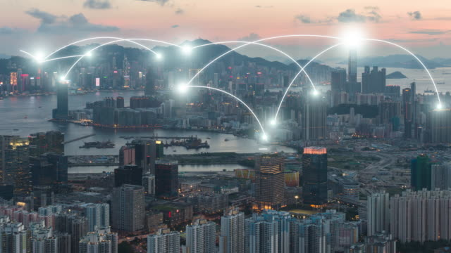 vídeos de stock e filmes b-roll de 4k resolution network connection concept with hong kong cityscape - technology