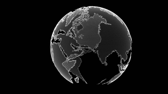 4k resolution Particle Earth in Dark Background 4k resolution Particle Earth in Dark Background wire frame model stock videos & royalty-free footage
