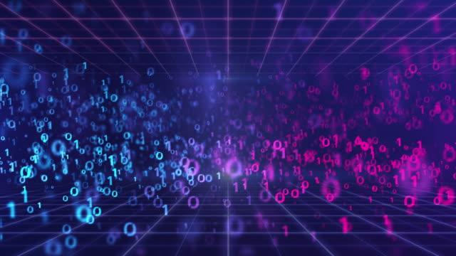4k解像度技術抽象背景、デジタルバイナリデータループの背景、技術ワイヤフレーム未来、グリッド抽象モーションを持つデータ。 - バイナリーコード点の映像素材/bロール