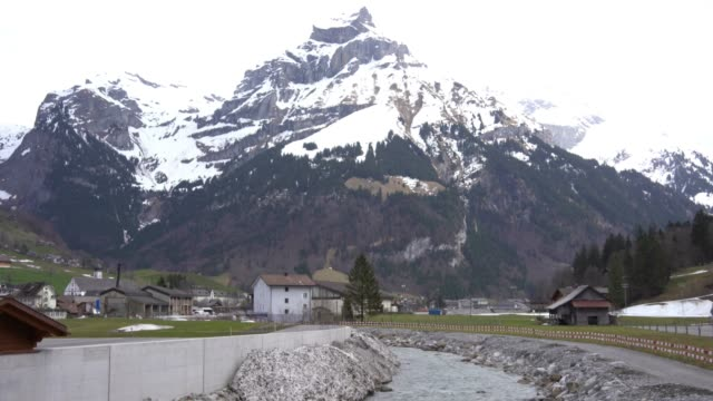 4k River and mountains in Engelberg Switzerland