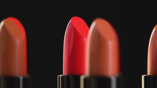 4k rotation of lipstick collection.