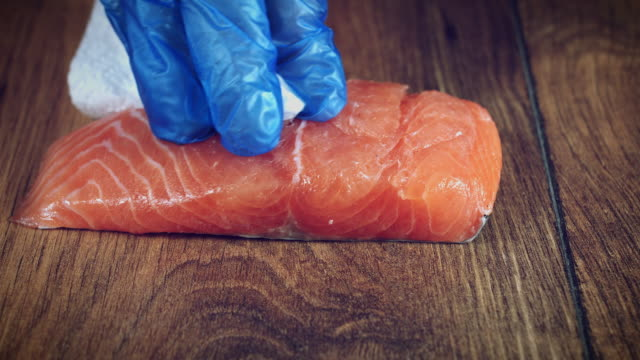 4k Salmon Fish Cooking Process, Cleaning video