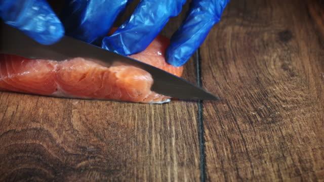 4k Salmon Fish Cooking Process, Cutting video