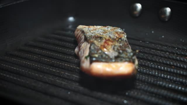 4k Salmon Fish Cooking Process in Pan video