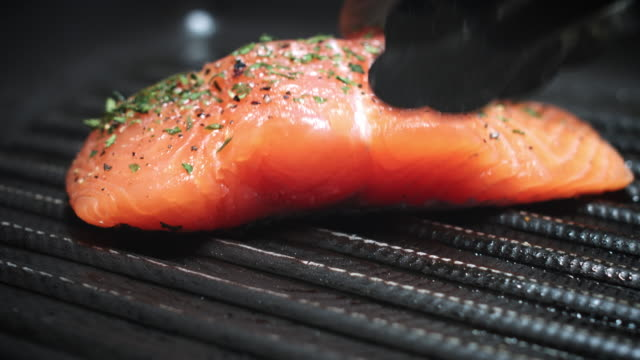 4k Salmon Fish Cooking Process on Grill video