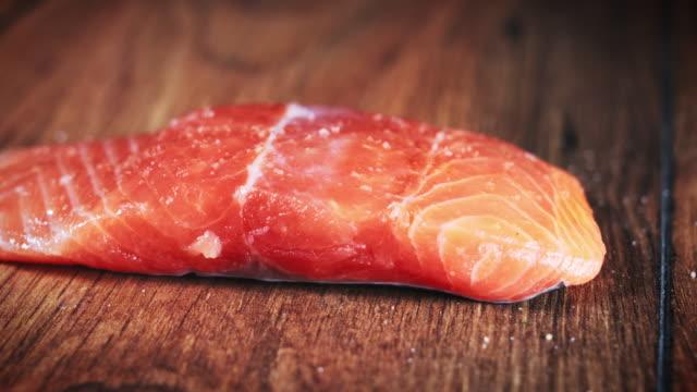 4k Salmon Fish Cooking Process, Seasoning video