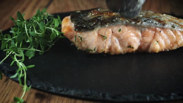 4k Salmon Fish Cooking Process video
