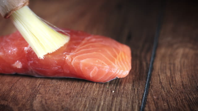 4k Salmon Fish Cooking Process with Oil video
