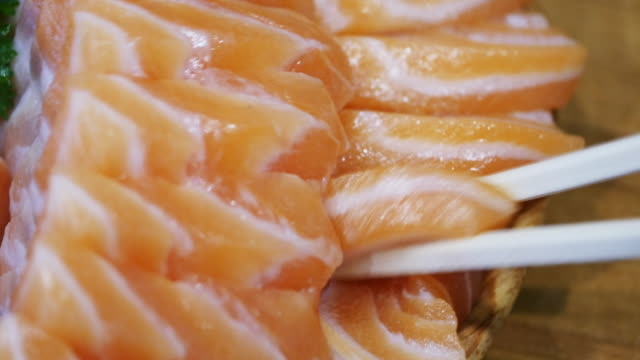 4k: Salmon Sashimi video