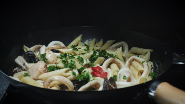 4k Seafood Prawns, Squids and Mussels Cooking in Pan video