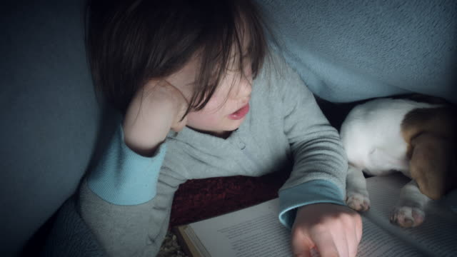 4k Shot of Child and Puppy under Blanket Reading Book video