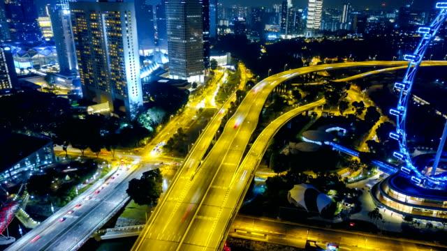 4k Singapore Aerial Panorama view at Night time-lapse