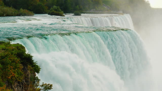 4k slow motion video: incredible Niagara Falls. View from the American shore video
