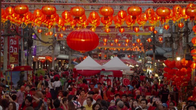 4k slowmotion.Chinese lanterns and dragon dance on Chinese new year.