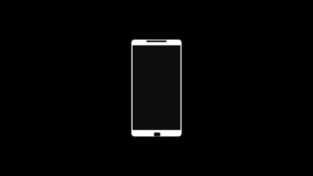 4k smartphone pop-up animation video with white mobile phone and circle burst. - hand holding phone filmów i materiałów b-roll