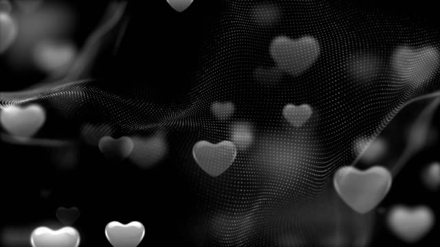 4k Soft black and white Heart Background (Loopable) stock video
