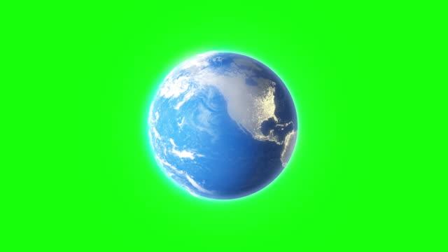 グリーン スクリーン背景アニメーション シームレスなループ上の 4 k 回転地球 - くるくる回る点の映像素材/bロール