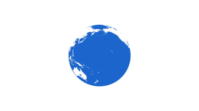 4k Spinning Earth on White Background Animation Seamless Loop. Simple Style