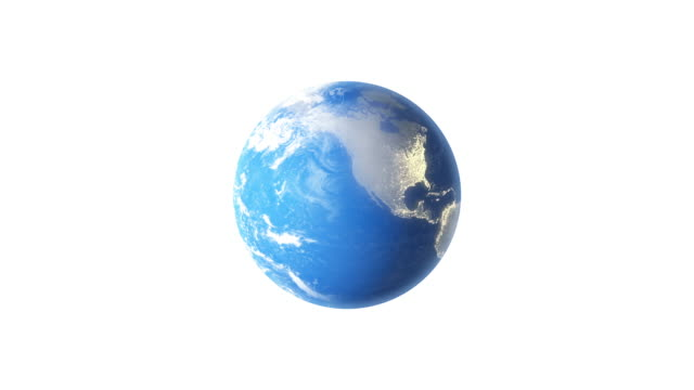 4k Spinning Earth On White Background Animation Seamless Loop video
