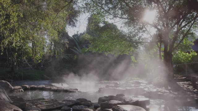 4k ,Stream Hot spring water in forest