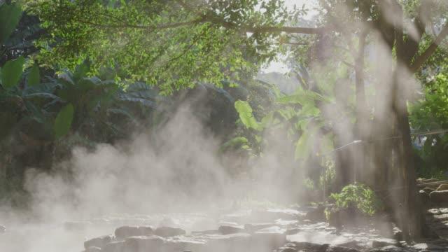 4k ,Stream Hot spring water in sun rise