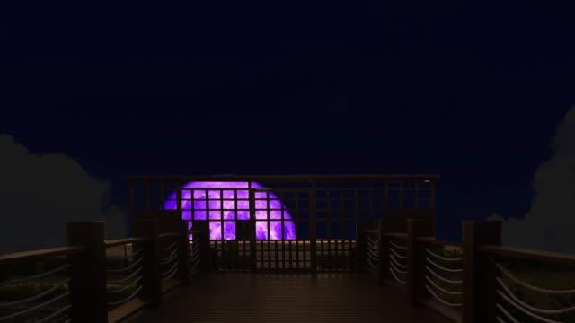 4k Super purple moon rise back on silhouette bridge on the night sky
