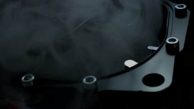 vídeos y material grabado en eventos de stock de composición técnica 4 de k de los relojes hechos a mano con humo - llave tubular