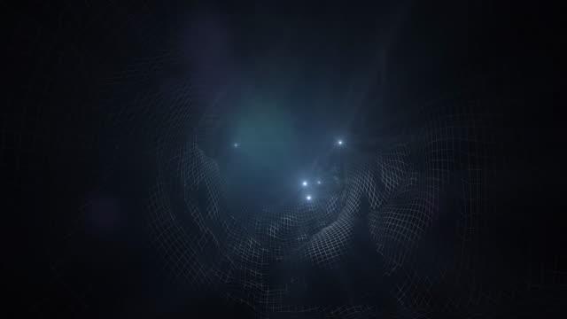 vídeos de stock, filmes e b-roll de 4 luzes de túnel de tecnologia abstrato animação base k - plexo