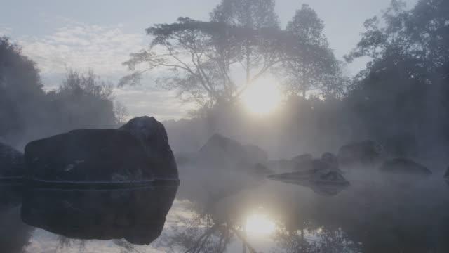 4k, Thailand Hot spring water in sunrise