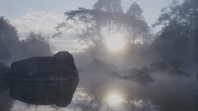 4k, Thailand Hot spring water in sunrise video