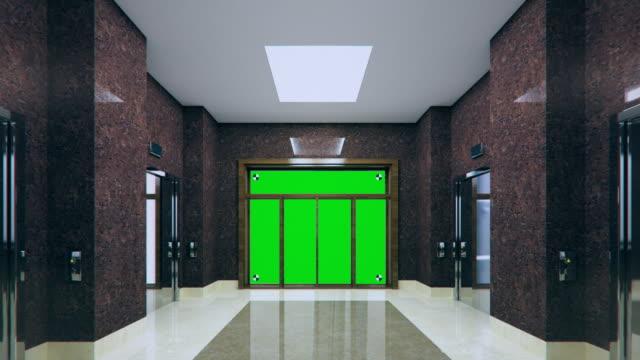 4k. the office lobby. chromakey. - hotel reception filmów i materiałów b-roll