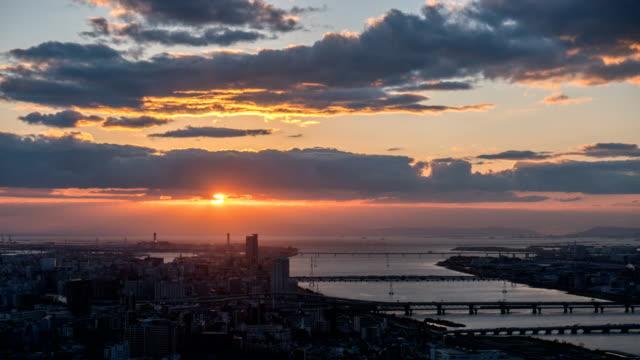 4 k の時間経過: 大阪航空写真ビュー ビデオ