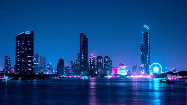 4k time lapse, atmosphere of Bangkok at Chao Phraya River at night