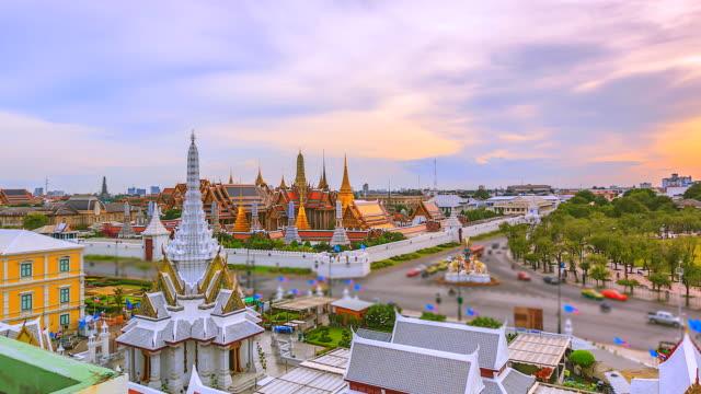 4k Time lapse landmark of Bangkok Wat Phra Kaeo or Temple of the Emerald Buddha in Bangkok City, Thailand video