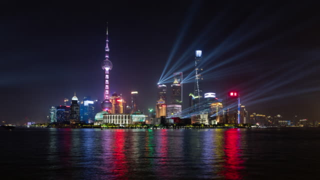 4k Time lapse: National Day Light show celebrating The 70th anniversary of the People's Republic of China, Shanghai