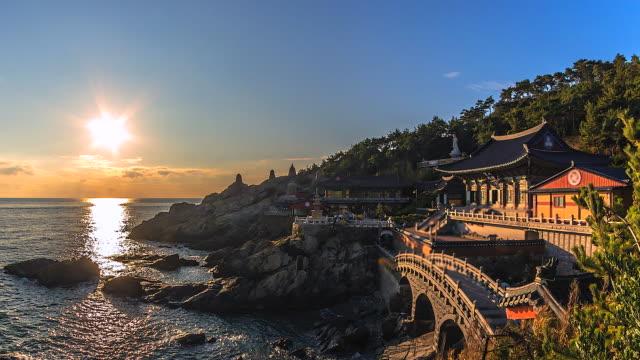 4k Time lapse sunrise at Haedong Yonggungsa Temple in Busan South Korea video