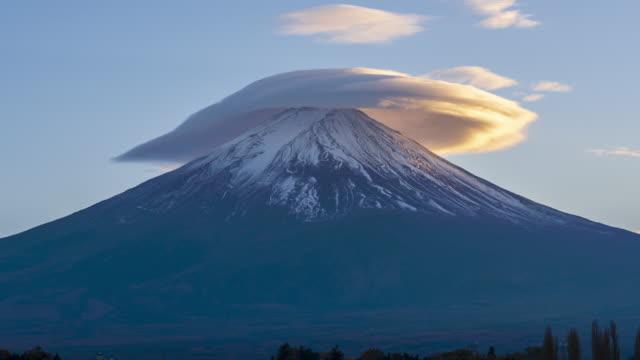 4k Time lapse Sunset of Fuji Mountain at Kawaguchiko Lake,Japan video