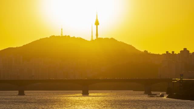 4k Time lapse Sunset of Seoul City Skyline,South Korea video