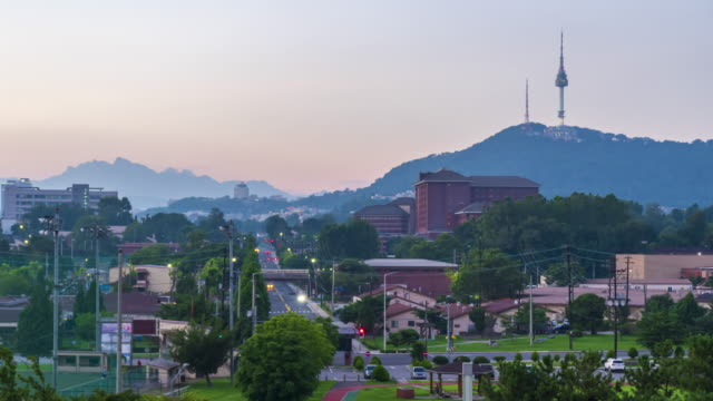 4k Time lapse Sunset of Seoul city,South Korea video